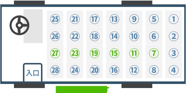 観光用マイクロバスの車内座席図